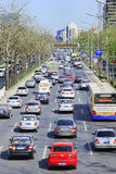 Engarrafamento diário no distrito financeiro central do Pequim, China Imagem de Stock