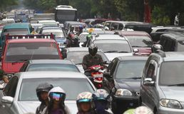 Engarrafamento em Jakarta Indonésia Foto de Stock Royalty Free