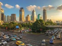 Engarrafamento em Shanghai, China imagens de stock