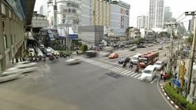Engarrafamento na cidade ocupada Timelapse de Banguecoque filme