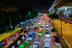 Engarrafamento no centro da cidade em Banguecoque, Tailândia Imagem de Stock Royalty Free
