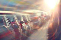 Engarrafamentos na cidade, estrada, horas de ponta Fotografia de Stock Royalty Free