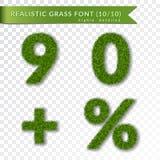 Engazonnez les pour cent, neuf, zéro, plus l'ensemble Symboles verts, d'isolement sur le fond transparent blanc Nombres de l'herb illustration de vecteur