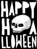 Enge Abstracte Witte Menselijke Schedel voor de Kaart, de Affiche en de Decoratie van Halloween royalty-vrije illustratie