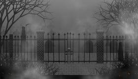 Enge begraafplaats met grimm-Maaimachines in duisternis royalty-vrije illustratie