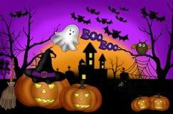 Enge de nachtachtergrond van Halloween Stock Afbeelding
