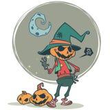 Enge de pompoen hoofdvogelverschrikker van Halloween, vectorprentbriefkaar voor Halloween-vakantie Stock Afbeeldingen