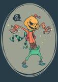 Enge de pompoen hoofdvogelverschrikker van Halloween, vectorprentbriefkaar voor Halloween-vakantie Stock Foto