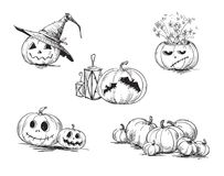 Enge gesneden Halloween-pompoenen Stock Fotografie