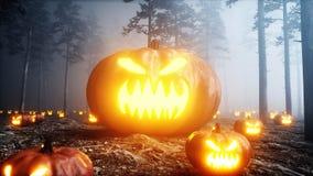 Enge gigant pompoen in de de bosvrees en verschrikking van de mistnacht Mistic en Halloween-concept het 3d teruggeven stock illustratie