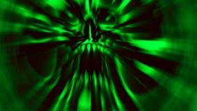 Enge groene demonschedel Illustratie in genre van verschrikking stock illustratie