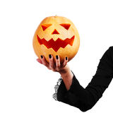 Enge Halloween-pompoen royalty-vrije stock foto