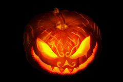 Enge Halloween pompoen royalty-vrije stock foto's