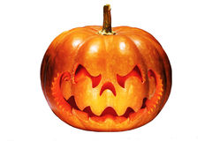 Enge Halloween-pompoen die op een Chinees draakhoofd lijken, isolat royalty-vrije stock afbeelding