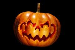 Enge Halloween-pompoen die op een Chinees draakhoofd lijken, isolat royalty-vrije stock foto's
