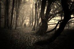 Enge mens die in een donker bos met mist lopen stock foto