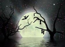 Enge nacht, fantasieachtergrond Stock Afbeelding