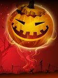 Enge pompoen in de nacht van Halloween. Stock Afbeeldingen