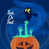 Enge Pompoen voor Halloween-Nachtpartij Royalty-vrije Stock Afbeelding