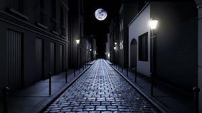 Enge steeg bij nacht stock illustratie
