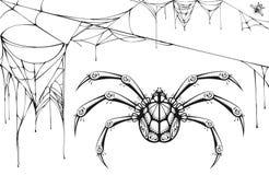 Enge zwart-witte spin en gescheurd Web De symbolen en de toebehoren van Halloween Stock Foto's