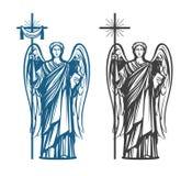 Engel, Aartsengel met vleugels Bijbel, godsdienst, overtuiging, vereringsconcept Uitstekende schets vectorillustratie royalty-vrije illustratie