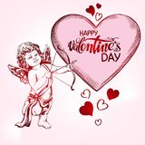 Engel, amyr kleines Baby Amor schießt einen Bogen mit einem Pfeil auf das Herz, Liebe, Tag des Valentinsgrußes s, die gezeichnete lizenzfreie abbildung