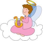 Engel auf Wolke mit Harfe Stockfoto