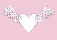 Engel beflügelt mit einem menschlichen Gesicht im Rahmen in Form eines Herzens Stockfotografie