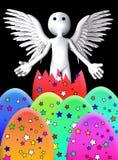 Engel bricht von Osterei aus Stockfoto