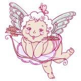 Engel of cupido ter beschikking getrokken stijl Royalty-vrije Stock Foto's
