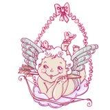 Engel of cupido ter beschikking getrokken stijl Stock Fotografie