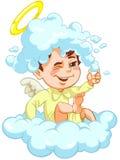 Engel, der auf einer Wolke mit Hut des Schaums sitzt vektor abbildung