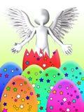 Engel bricht von Osterei aus Stockbild