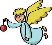 Engel, der ein Weihnachtsspielzeug hält Stockfotografie