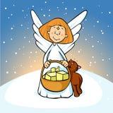 Engel, der einen Korb voll von den Geschenken und von den Katzenkitzen auf dem schneebedeckten Hintergrund - nett hält stock abbildung