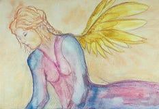 Engel, der für die apocalyps sich vorbereitet stock abbildung