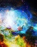 Engel, der Klinge mit Schlange, Mond im Hintergrund hält Malerei- und Grafikeffekt Lizenzfreie Stockfotos