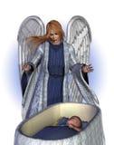 Engel die een Baby zegent royalty-vrije illustratie