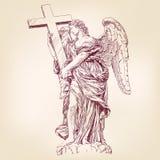 Engel die een dwarshand getrokken vector houden Stock Afbeeldingen