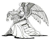 Engel die een harp speelt royalty-vrije illustratie