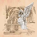Engel - een hand getrokken vector vector illustratie