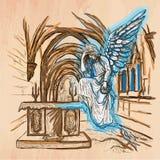Engel - een hand getrokken vector stock illustratie