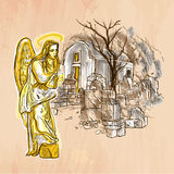 Engel - een hand getrokken vector Lijnart. vector illustratie