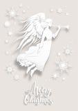 Engel in een sneeuw royalty-vrije illustratie