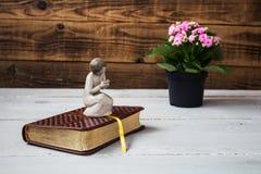 Engel en de bijbel royalty-vrije stock afbeeldingen