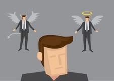 Engel en Duivel in Miind van de Zakenman Stock Afbeeldingen