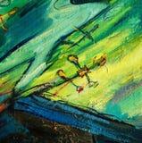 Engel en kruis, die door olie op een canvas schilderen Stock Foto