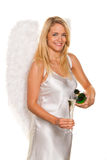 Engel für Weihnachten mit Champagner Lizenzfreie Stockbilder