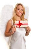 Engel für Weihnachten mit Paketen und Geschenken. Lizenzfreies Stockbild